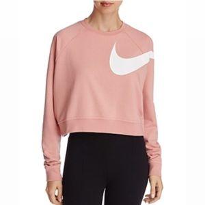 Nike pink swoosh cropped sweatshirt